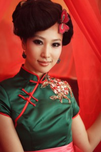 Woman wearing a cheongsam,Chinese classical dress
